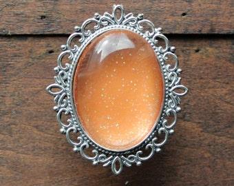 Oval Glitter Drawer Knobs Orange with SILVER or BRASS Hardware (MK142 #3)