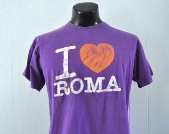 Italy TShirt I Love Roma Purple Distressed Rome Tee Shirt 80s Short LARGE Ladies L XL