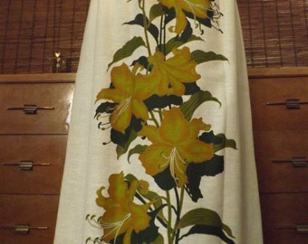 Vintage 60s Alfred Shaheen Golden Tropical floral Maxi Skirt M Free Shipping