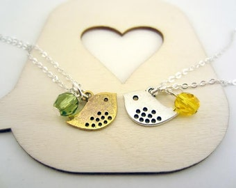 Friendship necklaces, set of two. One small silver bird, one small gold bird. Birthstone or favorite color bead. Best friend gift.