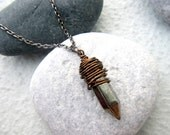 Cool Mens Necklace. Guys Bullet Necklace. Spike Necklace. Gemstone Jewelry. Wire wrap Pyrite Pendant