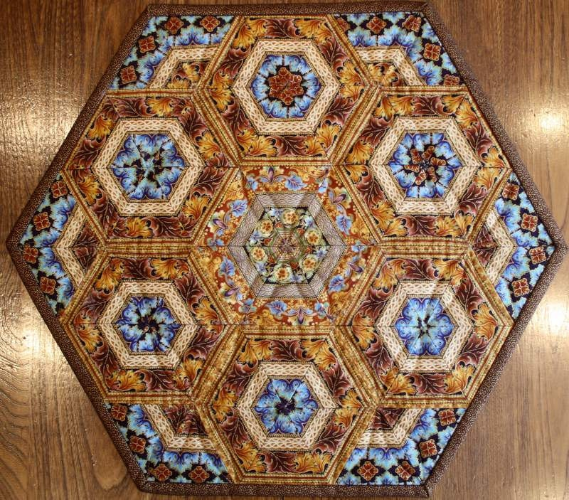 Quilted Table Topper Centerpiece Pieced Hexagonscopper