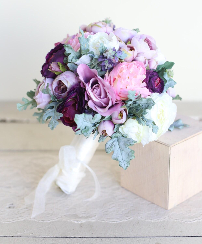 Silk Bridal Bouquet Purple Lavender Dusty Miller by ...