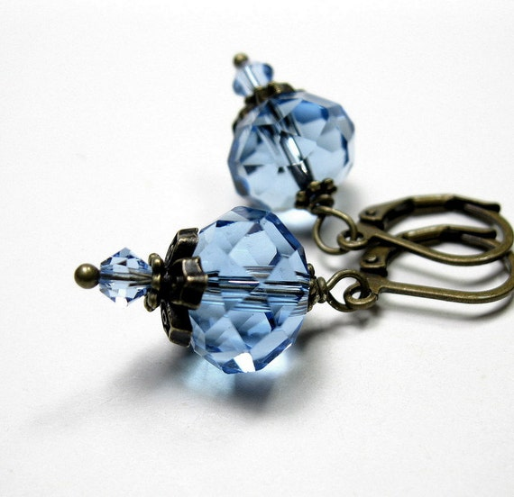 Light Sapphire Czech Glass and Swarovski Dangle Earrings, Periwinkle Blue, Sparkling Jewelry, Baby Blue, Light Blue, Pale Blue, Rondelles