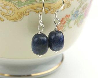 Blue Sodalite Earrings, Gemstones for the Third Eye Chakra, Casually Elegant Everyday Earrings in Sterling Silver