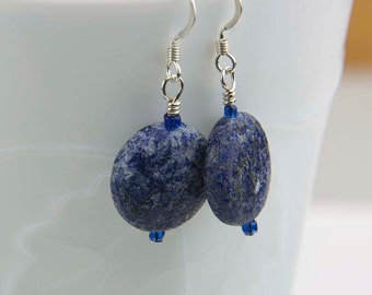 Blue Lapis Lazuli Earrings- Rustic Gemstone Earrings- Third Eye Chakra Gemstone - Sterling Silver - Denim Blue Earrings - E1064