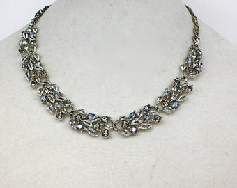 Vintage 50s Lisner Choker Necklace Rhodium Silver w Smoke & AB Blue Rhinestones