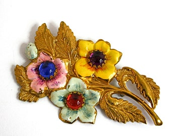 Vintage 40s Jewel Flower Brooch Large Gold w Enamel Flowers Plastic Cabochons