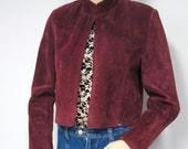 Vintage Jacket Bolero Suede Vintage Leather Jacket Coat Burgandy Suede Jacket Leather Crop Jacket Maroon Jacket Size Small