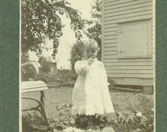 Freda Jones Happy Baby on The Farm Standing White Dress Cabinet Card Antique Photo Portrait Black White Photograph