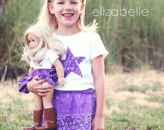 Matching Girl and American Girl Doll Bandana Skirt Set in Purple 12m 2, 3, 4, 5, 6 Cowboy Boot, Horse Head, Western Star Applique