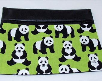 CLUTCH - Panda Love (Pleather/ Cotton) **handmade**Kindle**iPad mini** Case**
