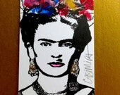 FRIDA KAHLO mixed media - luxurious note card suitable for framing