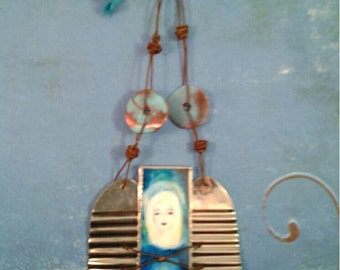 Rustic Angel #3 ornament -- stained glass and recycled tin wings