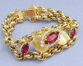 Vintage Floral Bracelet with Red Rhinestones and Gold Chain Links Exquisite / Red Rhinestone Bracelet
