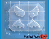 SALE Set of 2  Pair Small Kawaii Wings and Bat Wings   Flexible Plastic Handmade Resin Mold
