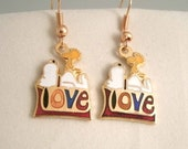 Vintage Snoopy and Woodstock on the word Love  Aviva United Features Cloisonne Earrings with Snoopy on Top of a Large Heart charms