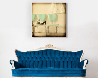Fine Art Canvas Gallery Wrap Giclee Print Vintage Chairs Finished Ready to Hang Home Decor Mint Green Mad Men Mid Century Cream Wholesale