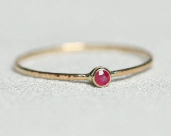SOLID 14k Gold Natural Tiny Earth Mined Ruby Stacking Ring - 14k Rose or Yellow or White Hammered Thread of Gold - Delicate Stacking Ring