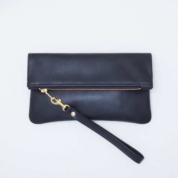 Black Leather Fold Over Clutch, Fold Over Zipper Wristlet, Black Leather Zip Pouch, Everyday Minimal Leather Wristlet, Black Evening Clutch