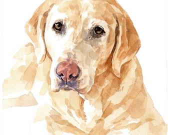 Pet Portrait - Custom Original Watercolor 8x10, Lab, Labrador Dog