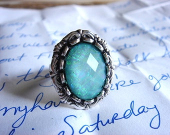 Nostalgic Soul - Ring - Acrylic Aqua Opal, Silver Adjustable Ring - Handmade Jewelry by HoneyNest