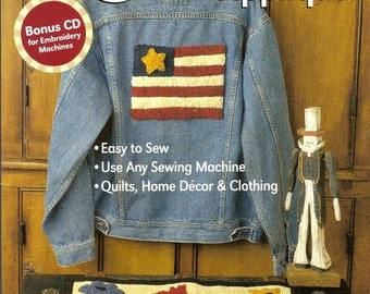 Rag Wool Applique Book, Use Any Machine or has Bonus CD for Embroidery Machines