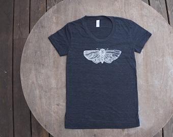 Moth Cyclops T-Shirt American Apparel Women's Scoop Neck Tee in Heather Black
