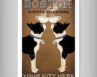 BOSTON TERRIER Free Customization Personalization Coffee Co. ILLUSTRATION Giclee Print signed