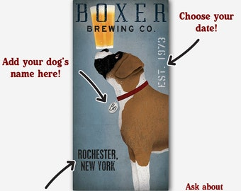 FREE Customization PERSONALIZED BOXER  Dog Beer Wine Coffee Martini Donut Co. Stretched Canvas Wall Art  Ready-To-Hang  Cropped and Brindle