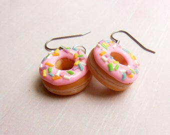 polymer clay pastel doughnut earrings strawberry donut