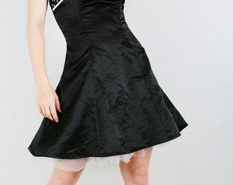 90s Strapless Evening Dress, Reto Pin Up Dress, Black Mini Dress, 90s does 50s, Polka Dot Dress, Circle Skirt Dress, Crinoline Dress