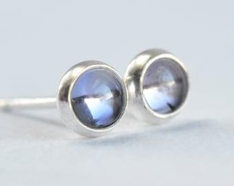 iolite 4mm sterling silver stud earrings pair