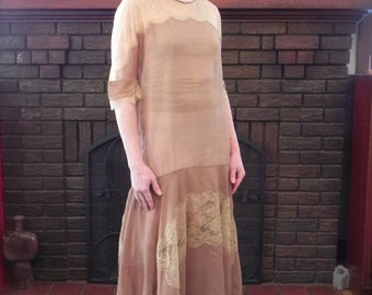 Vintage 20s Dress Cocoa Silk Chiffon with Lace Gorgeous Rare Antique SILK Flapper Dress  - on sale