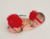BLOOMER and HEADBAND, Red Baby Bloomer and Headband, red lace headband , red bloomers, newborn , infant, baby girl set , flower headband