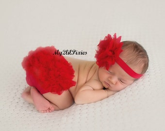 BABY HEADBAND and BLOOMER set- Bloomers. Bloomers. Baby Bloomers. Ruffle Bottom Bloomers, Red Bloomer, Ready to ship.Valentines Set. Prop