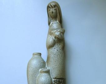 Howard Pierce Pottery Girl & Jugs Triple Vase