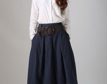 blue skirt,Linen Skirt ,bud skirt, maxi skirt, Made to order, long Skirt, skirt with Pockets,Pleated skirt, Fall clothing, ladies skirts 778