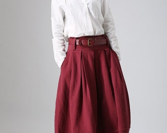 Red skirt, linen skirt,  maxi skirt, womans skirts, bubble skirt,  pleated skirt, custom skirt, made to order, pocket skirt (821)