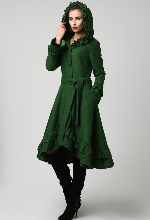 Boho Coat emerald green coat Dark green coat Womens coats