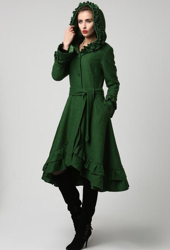Amazing Gray Wool Coat Long Winter Dress Coat With Layered Hem 761