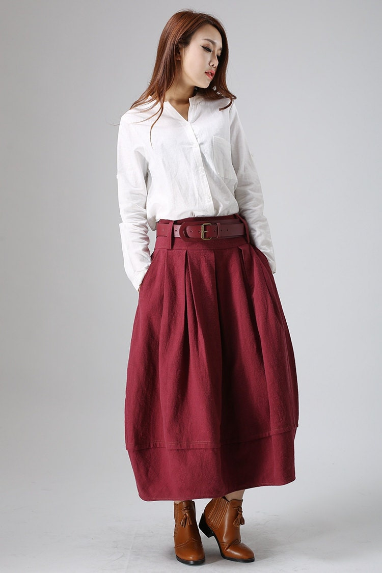 Red Skirt Linen Skirt Maxi Skirt Womans Skirts Bubble