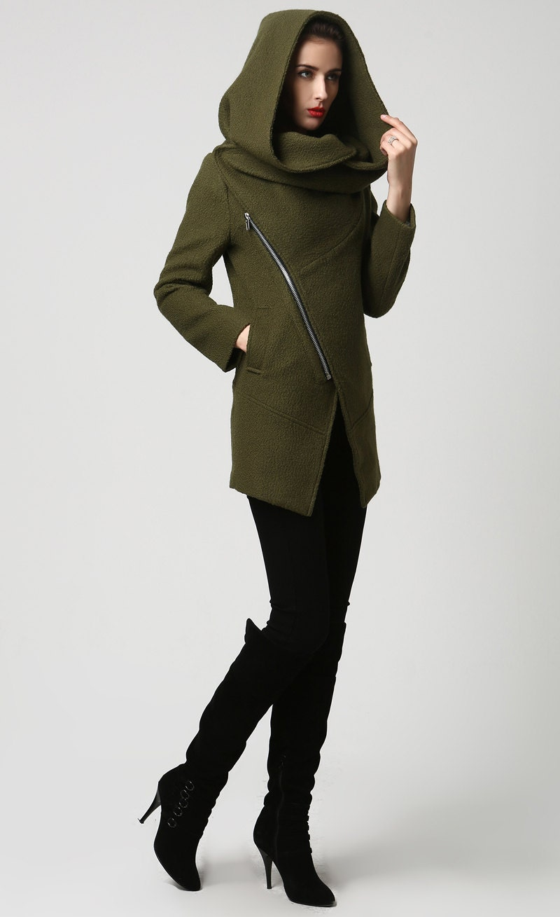 Womens wool coat with hood