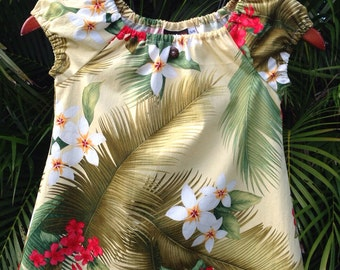 Girls Hawaiian Dress Muu Muu Tropical Floral
