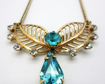 SALE Vintage Van Dell 12K Yellow Gold Filled Teal Turquoise Rhinestone Necklace