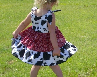 Cowgirl Twirly Sundress Boutique Dress with Cow and Bandana print cool cotton fabrics
