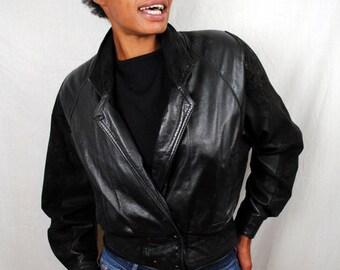 Vintage Black Leather 80s WIlsons Cropped Coat Jacket