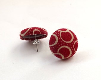 Geometric Circles and Dots Dark Red Pattern Vintage Fabric Button Stud Earrings 15mm