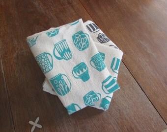 Flour Sack Towel, Hand Printed, Mugs, Natural Cotton