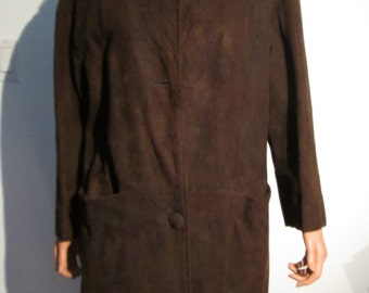 Vintage 1960 Mink trimmed COAT. Chocolate Brown Suede.  Classic, Mad Men.  Classic Cocoon Coat.